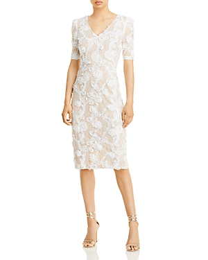 Aqua Lace Applique Short Sleeve Dress - 100% Exclusive