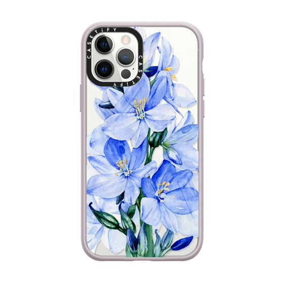 CASETiFY iPhone 12 Pro Impact Case - Blue flowers