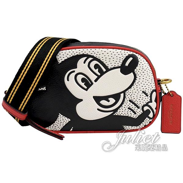 茱麗葉精品【專櫃款 全新現貨】COACH C1142 迪士尼聯名 撞色米奇迷你相機包.白/黑