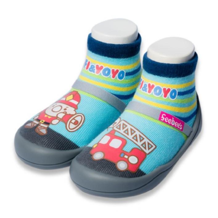 【feebees襪鞋】消防車襪鞋-加寬楦頭設計