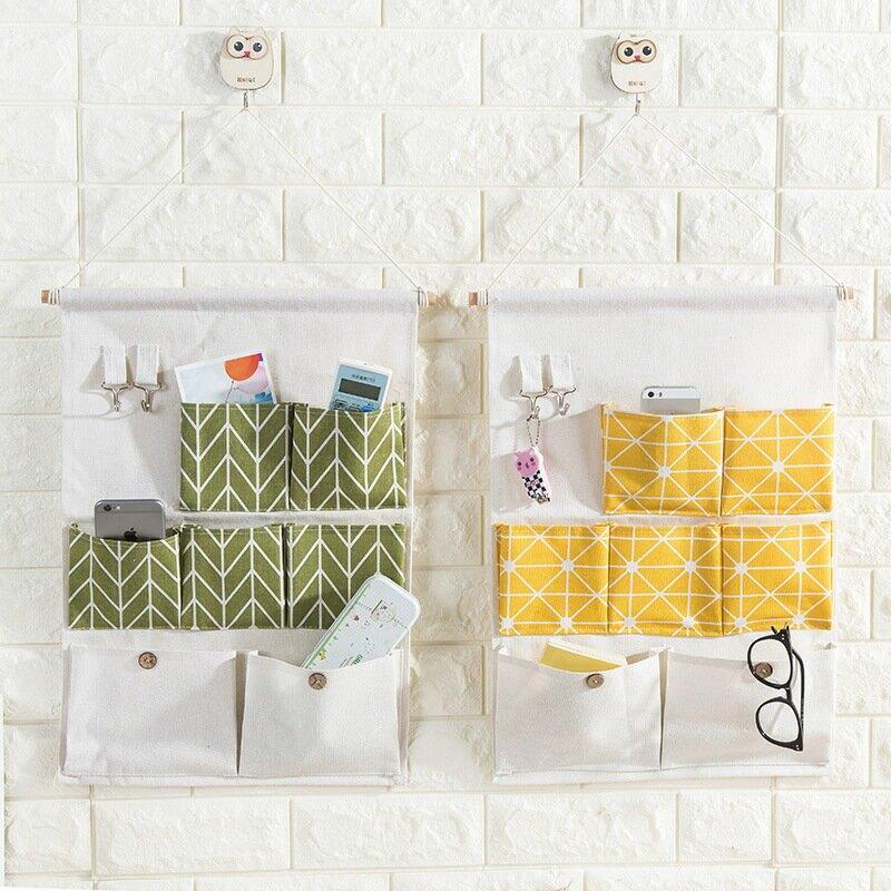 棉麻掛袋七格兜雜物可掛鑰匙收納袋掛門後牆壁掛式帶鉤儲物袋