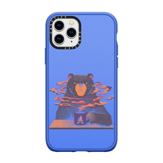 CASETiFY iPhone 11 Pro Casetify Black Impact Resistance Case - Bear Having Coffee I Love Coffee