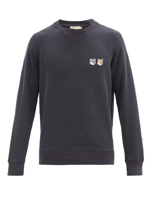 Maison Kitsuné - Double Fox Head-patch Cotton Sweatshirt - Mens - Dark Grey