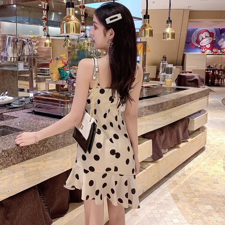 樂天精品 快速出貨 洋装-波點吊帶雪紡洋裝女2020新款流行夏天氣質收腰顯瘦性感高腰裙子