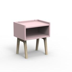 比利時 Mathy by Bols 復古經典兒童床頭櫃-原木+藕粉色
