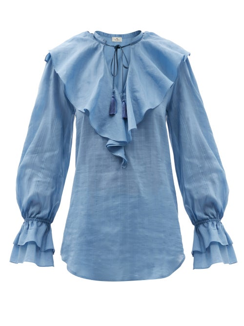 Etro - Nashville Ruffled Cotton-blend Voile Blouse - Womens - Light Blue