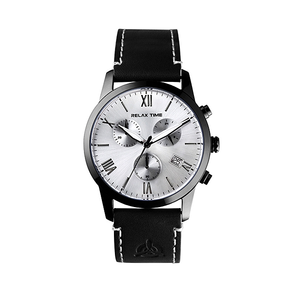 【Relax Time】羅馬三眼飛行時尚計時腕錶-棕咖銀/RT-67-3/台灣總代理公司貨享一年保固