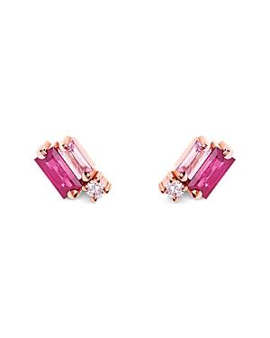Suzanne Kalan 18K Rose Gold Pink Sapphire & Diamond Stud Earrings