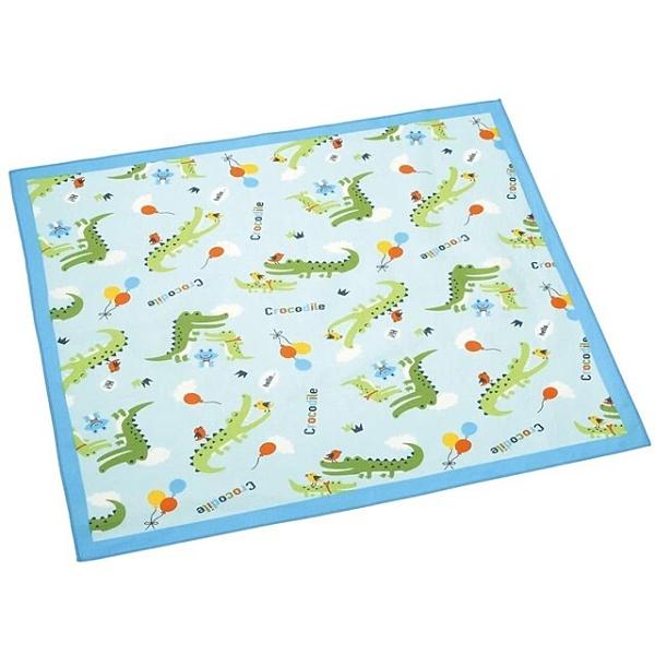 小禮堂 鱷魚 日製 純棉紗布便當包巾 餐巾 手帕 桌巾 桌墊 43x43cm (藍 汽球) 4973307-51510