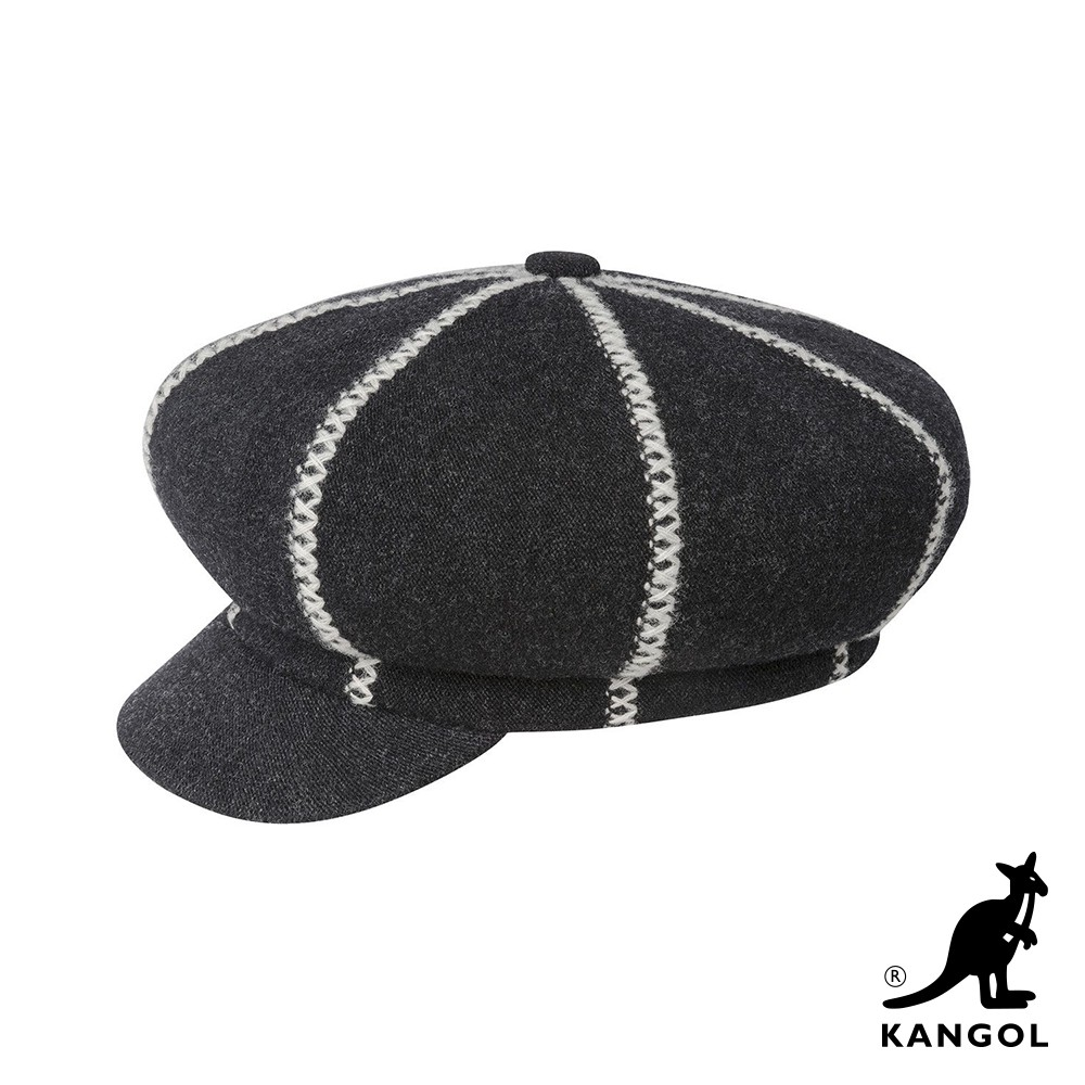 【KANGOL】波士頓報童帽-黑灰色 K3351HT