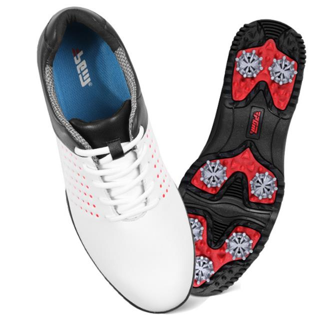 高爾高爾夫球鞋 防水超纖皮鞋 男士透氣鞋 防滑golf shoes  GSH069白  配POSMA鞋包 2合1清潔刷   高爾夫球毛巾
