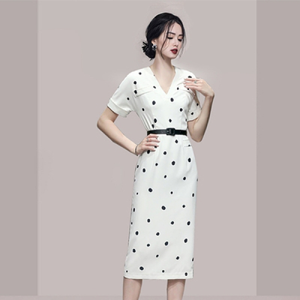 OL洋裝S-XL5897#韓版夏季高檔v字領修身圓點半袖包臀連身裙NA71紅粉佳人