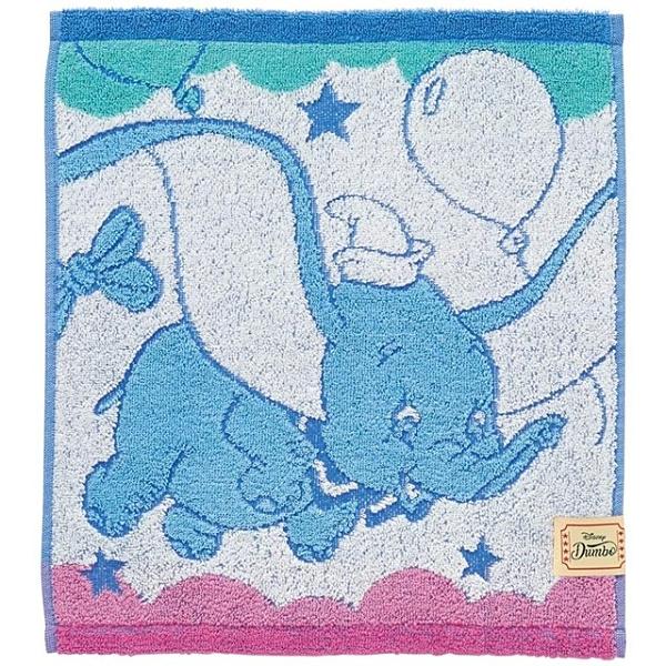 小禮堂 迪士尼 小飛象 純棉無捻紗短毛巾 抗菌毛巾 純棉毛巾 方巾 34x36cm (藍 汽球) 4992272-73265