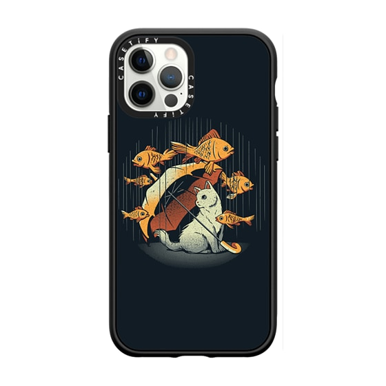 CASETiFY iPhone 12 Pro Casetify Black Impact Resistance Case - A Day In A Cat's Life Golden Fish In