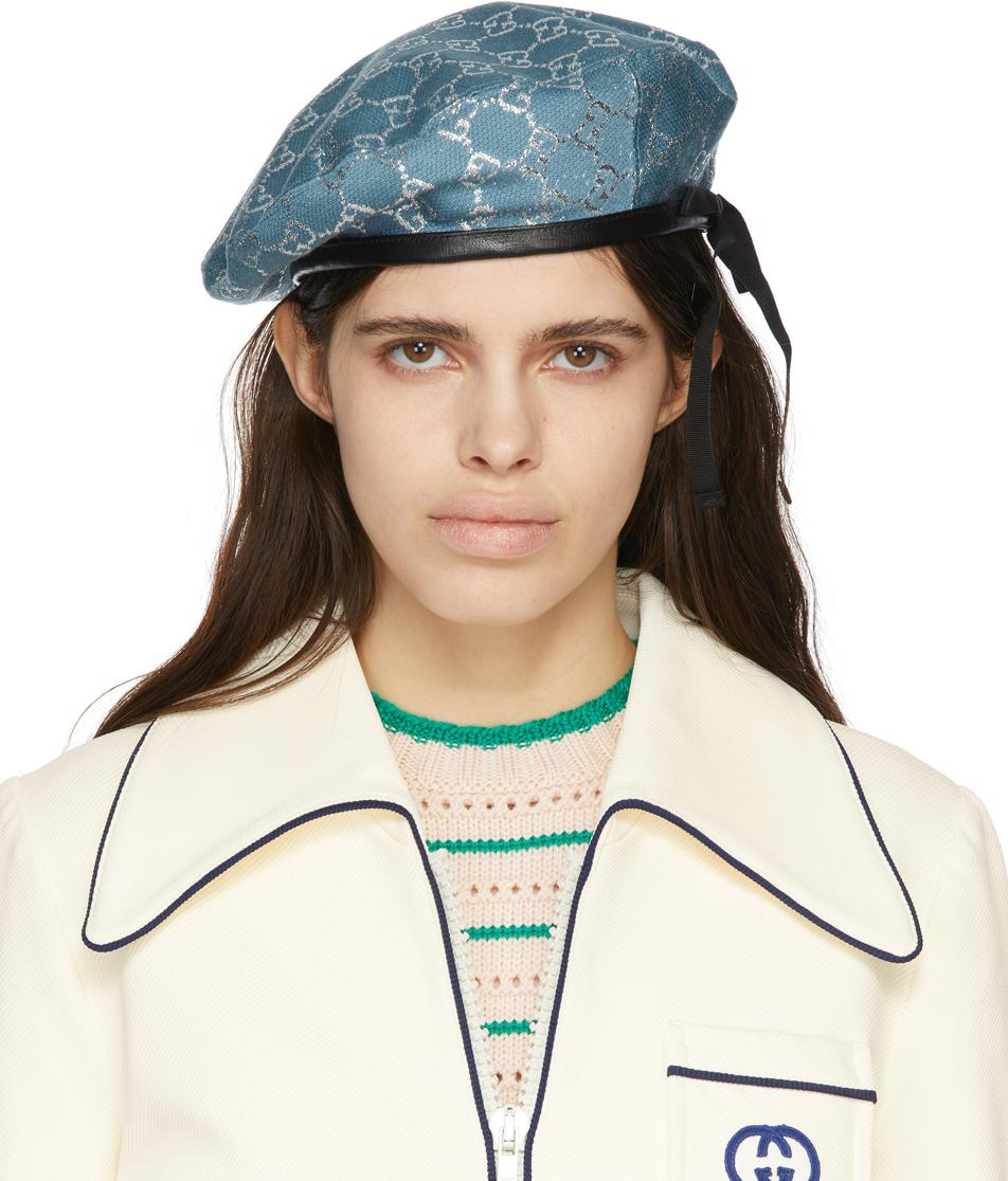 Gucci 蓝色 GG Lamé 贝雷帽