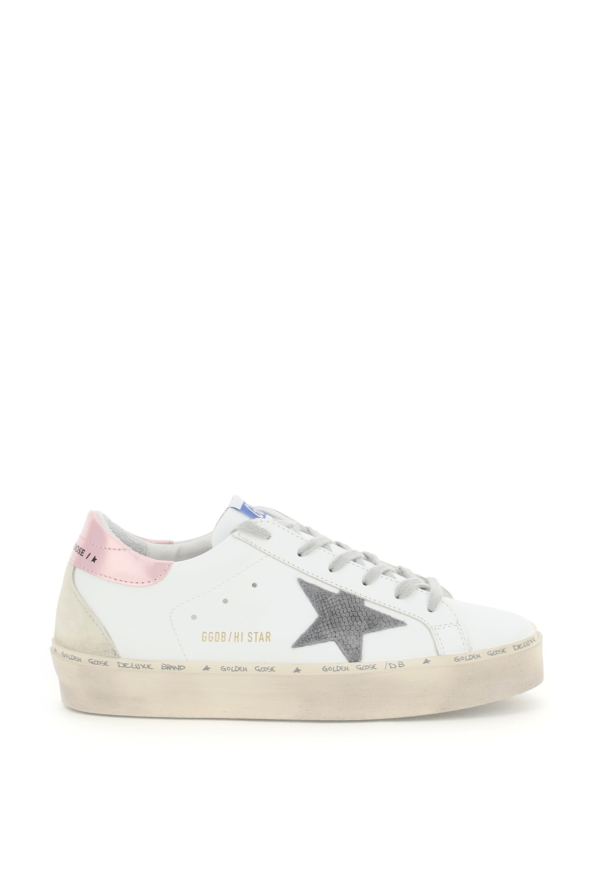 GOLDEN GOOSE HI STAR LEATHER SNEAKERS 37 White, Grey, Pink Leather