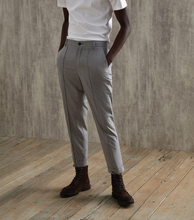 Brunello Cucinelli Virgin Wool High-Waist Trousers