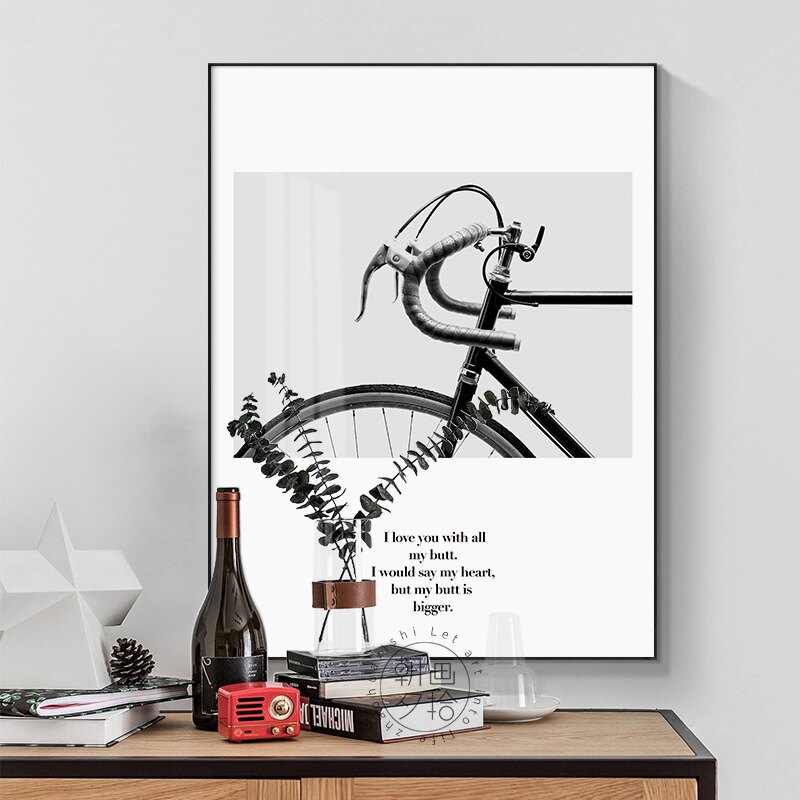 極簡風小清新黑白自行車英文字母北歐簡約裝飾畫臥室床頭墻壁掛畫