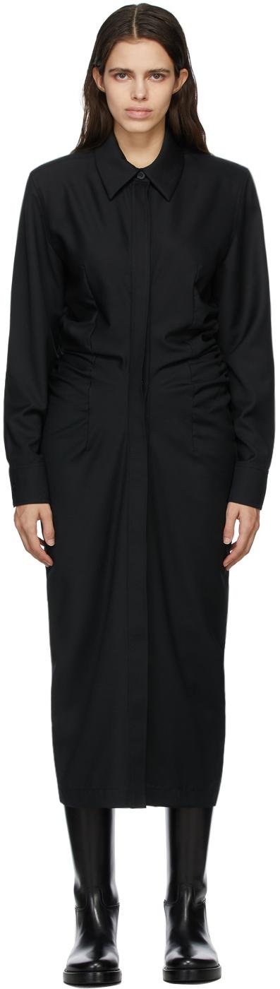 Matériel Tbilisi 黑色抽褶初剪羊毛连衣裙