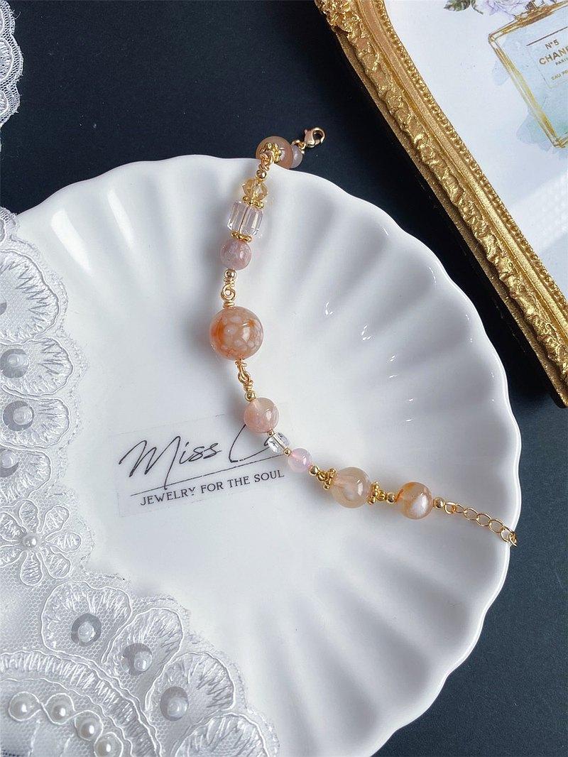 限量 永恒的花 櫻花瑪瑙 設計款手鍊 禮物 天然石 客製化 閨蜜