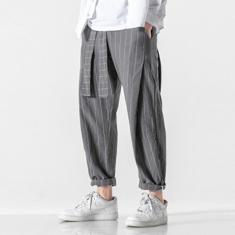 寬鬆抽繩束腳運動褲夏季褲子男大碼空調休閒長褲九分薄款冰絲潮流