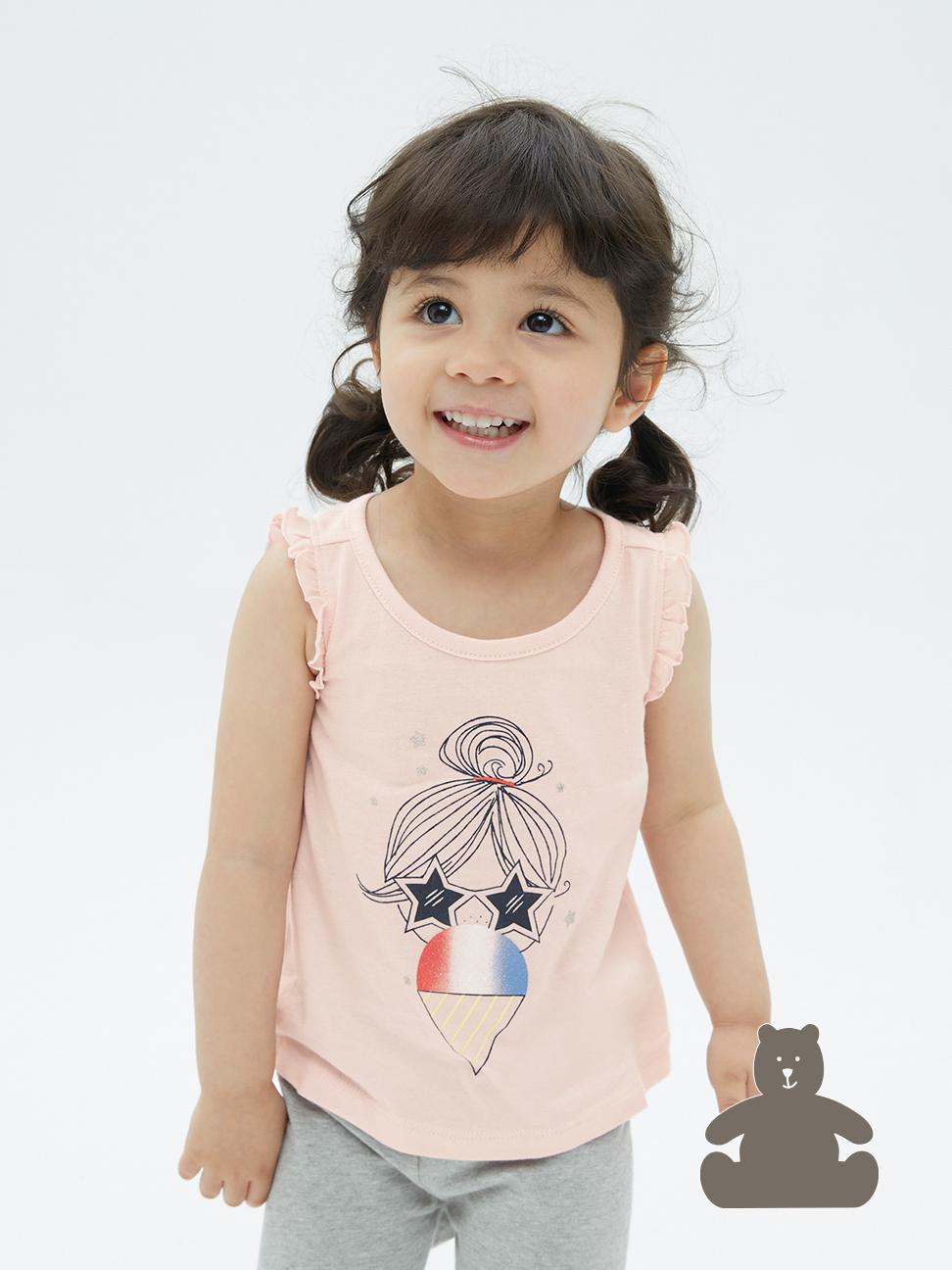 幼童 布萊納系列 純棉印花無袖T恤