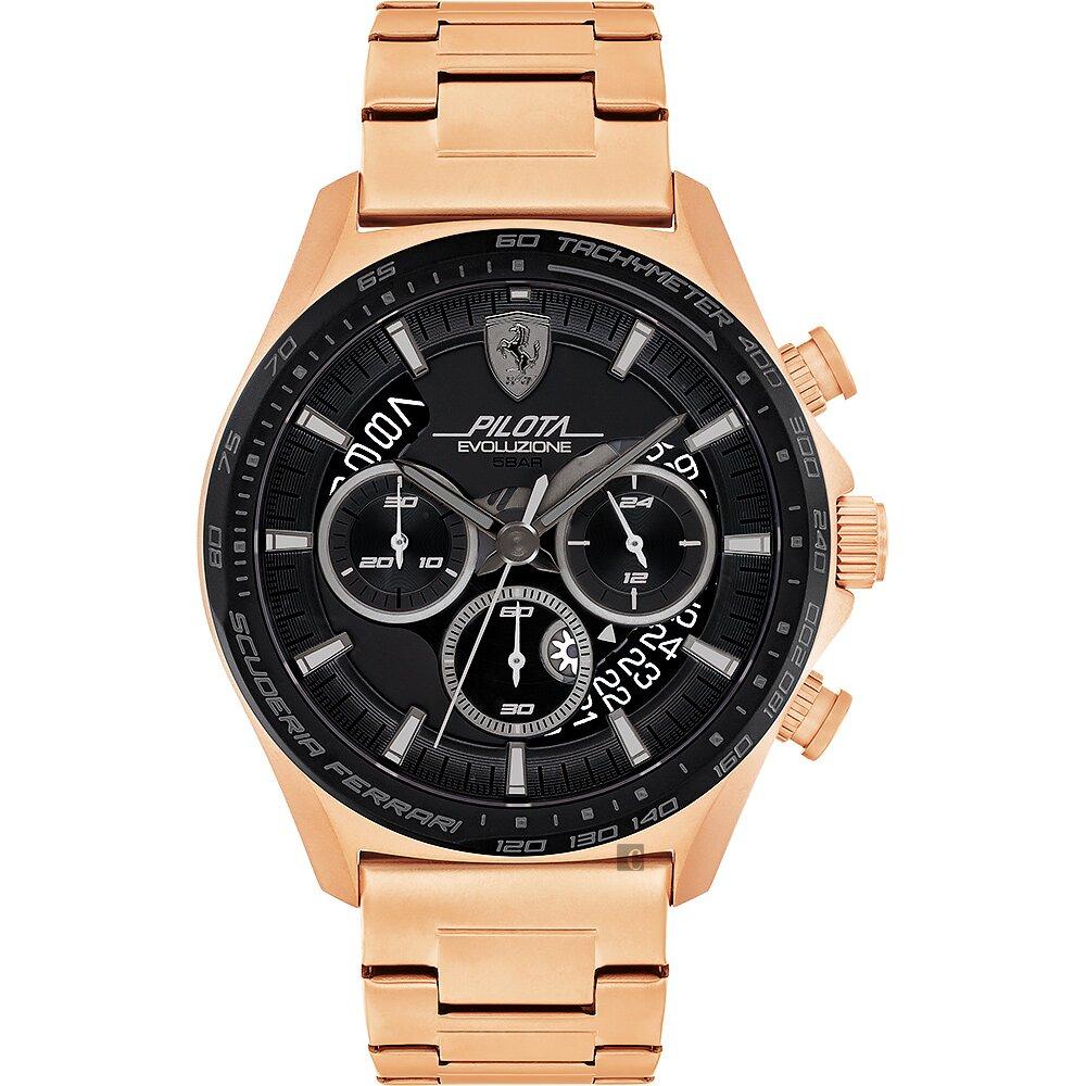 Scuderia Ferrari 法拉利 時尚三眼計時手錶-44mm FA0830825