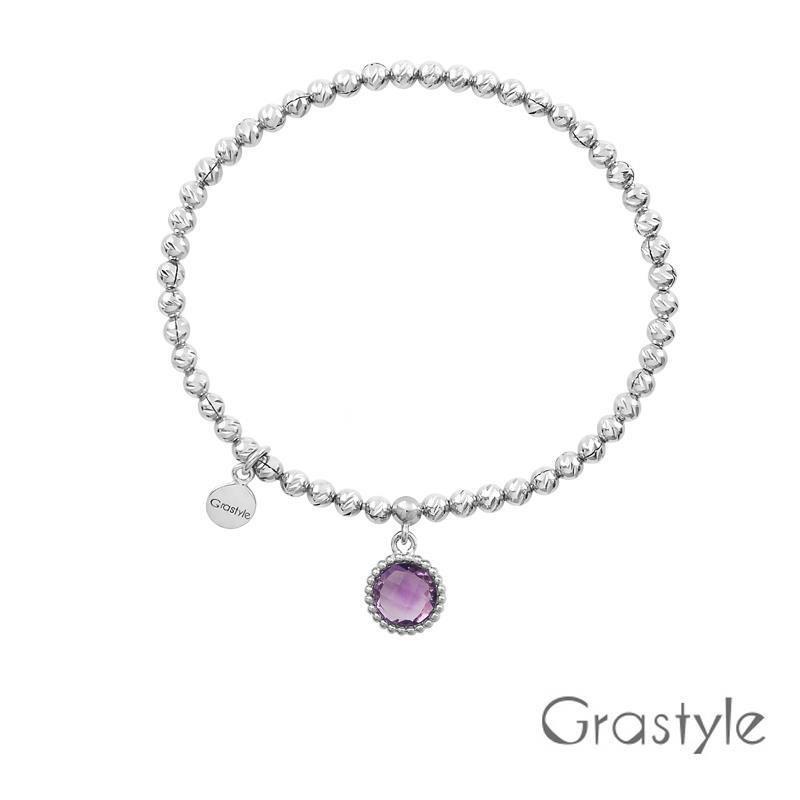 歐莉寶GraStyle 義大利925純銀圓形天然寶石彈性手鍊