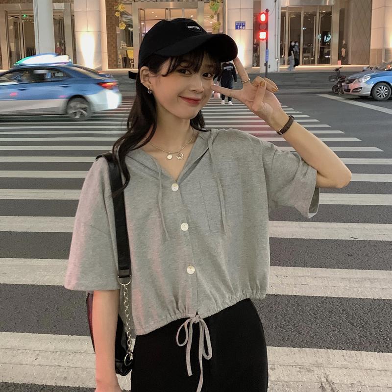 素時尚純色寬鬆休閒連帽T恤女裝學生新款顯瘦百搭短袖上衣夏季簡約短袖t恤
