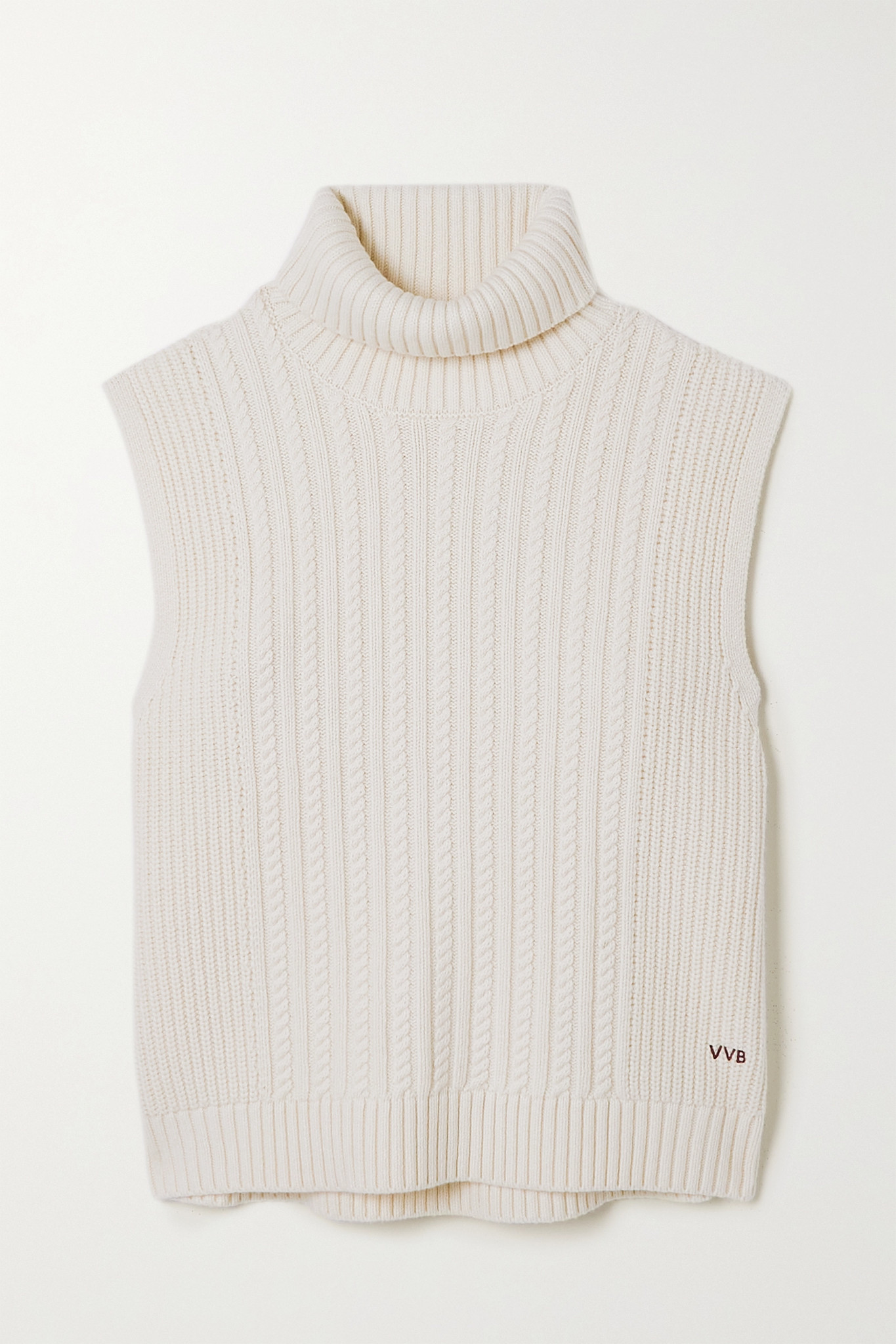 VICTORIA, VICTORIA BECKHAM - Cable-knit Turtleneck Sweater - Ivory - medium