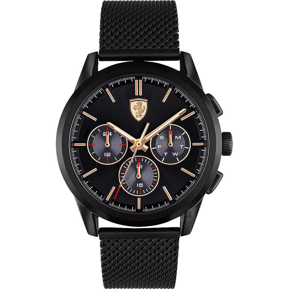 Scuderia Ferrari 法拉利 三眼米蘭帶手錶-44mm FA0830807
