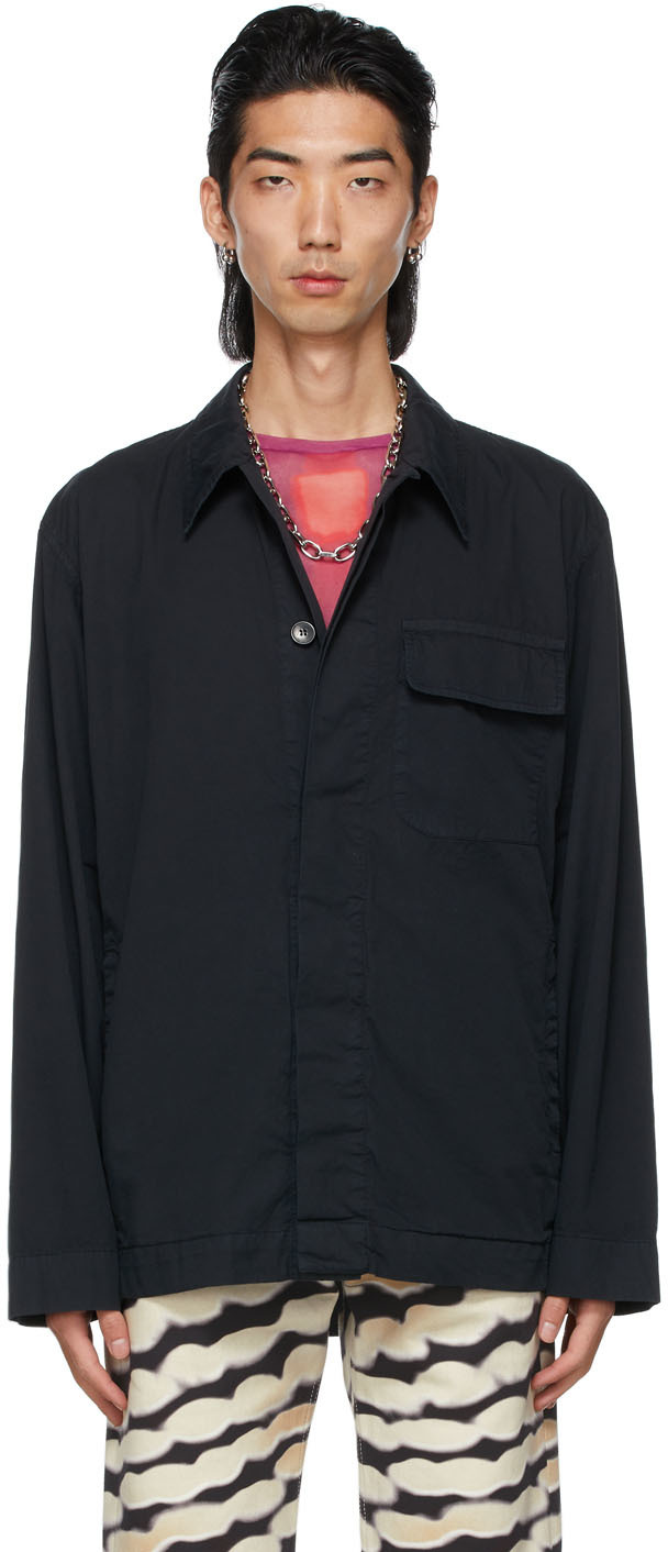 Dries Van Noten 海军蓝 Overdyed 衬衫