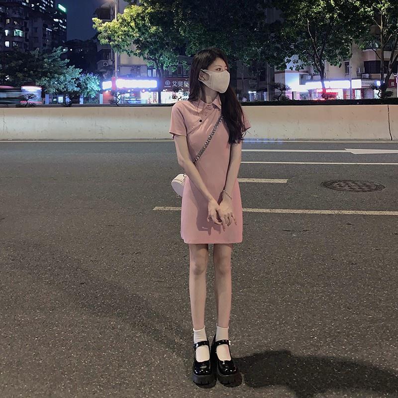 夏季顯白斜扣修身polo裙子修身彈力顯瘦腰精連衣裙