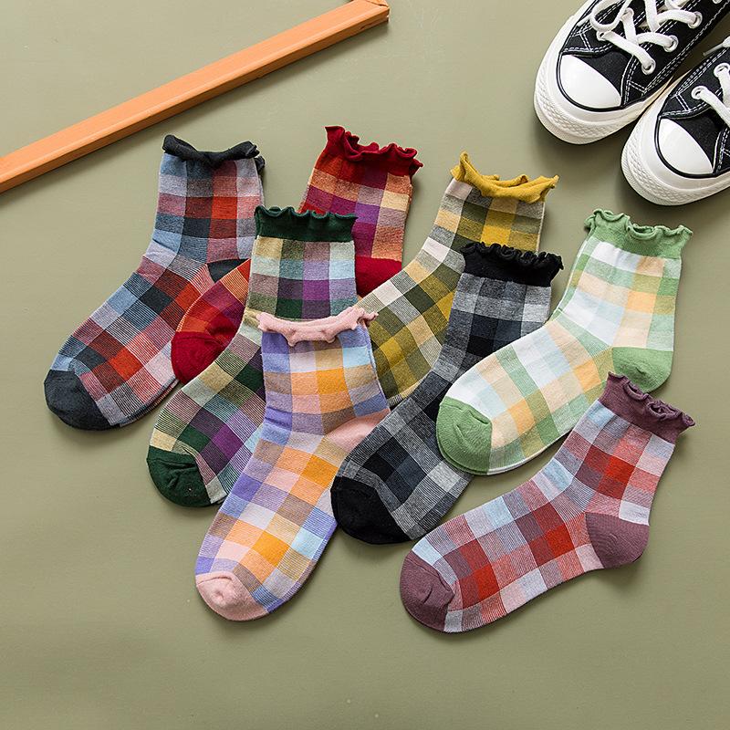中筒女襪 薄款 復古 日系 ins甜美 森系 少女可愛襪子 木耳邊格子棉襪