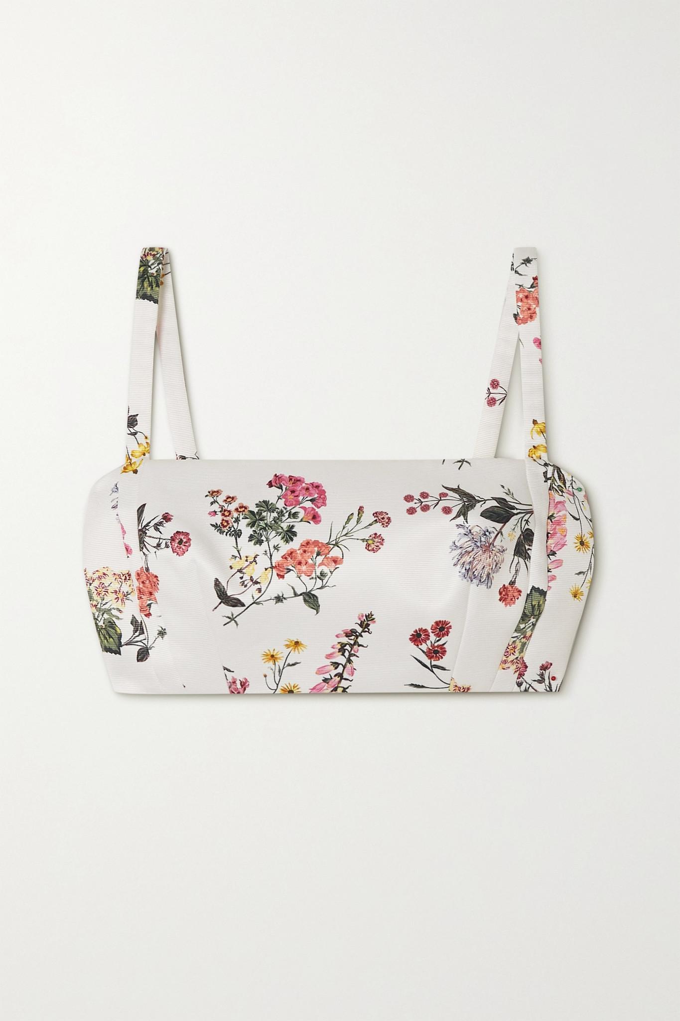 EMILIA WICKSTEAD - Fabiola Cropped Floral-print Faille Top - White - UK6