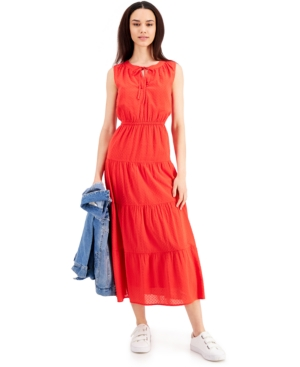 Style & Co Petite Cotton Tiered Maxi Dress, Created for Macy's