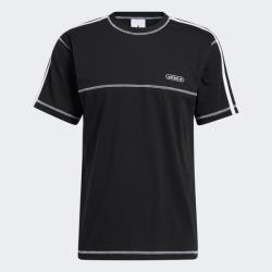 Adidas CNTRST STITCH 男裝 短袖 T恤 休閒 三線 外縫線 棉 黑【運動世界】GN3886
