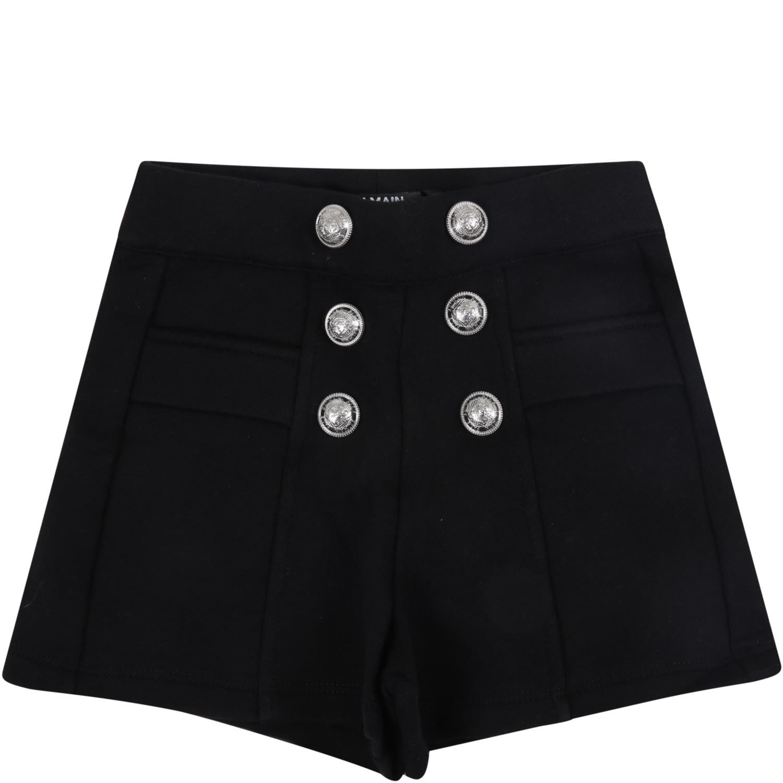 Balmain Black Short For Baby Girl