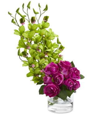 Nearly Natural Rose & Dendrobium Orchid Artificial Arrangement in Vase