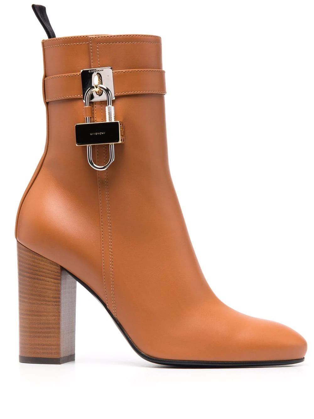 Givenchy Light Brown Leather Ankle Boot With Padlock