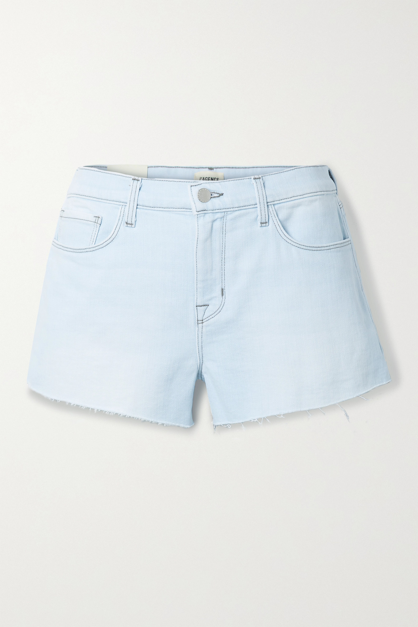 L'AGENCE - Audrey Frayed Denim Shorts - Blue - 27