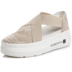 【Taroko】韓風蕾絲彈性透氣包頭厚底休閒涼鞋(2色可選)