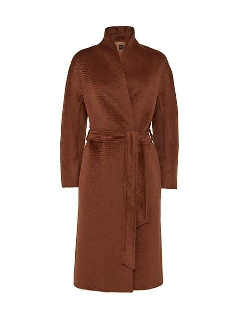 Collarless Kimono Wrap Coat