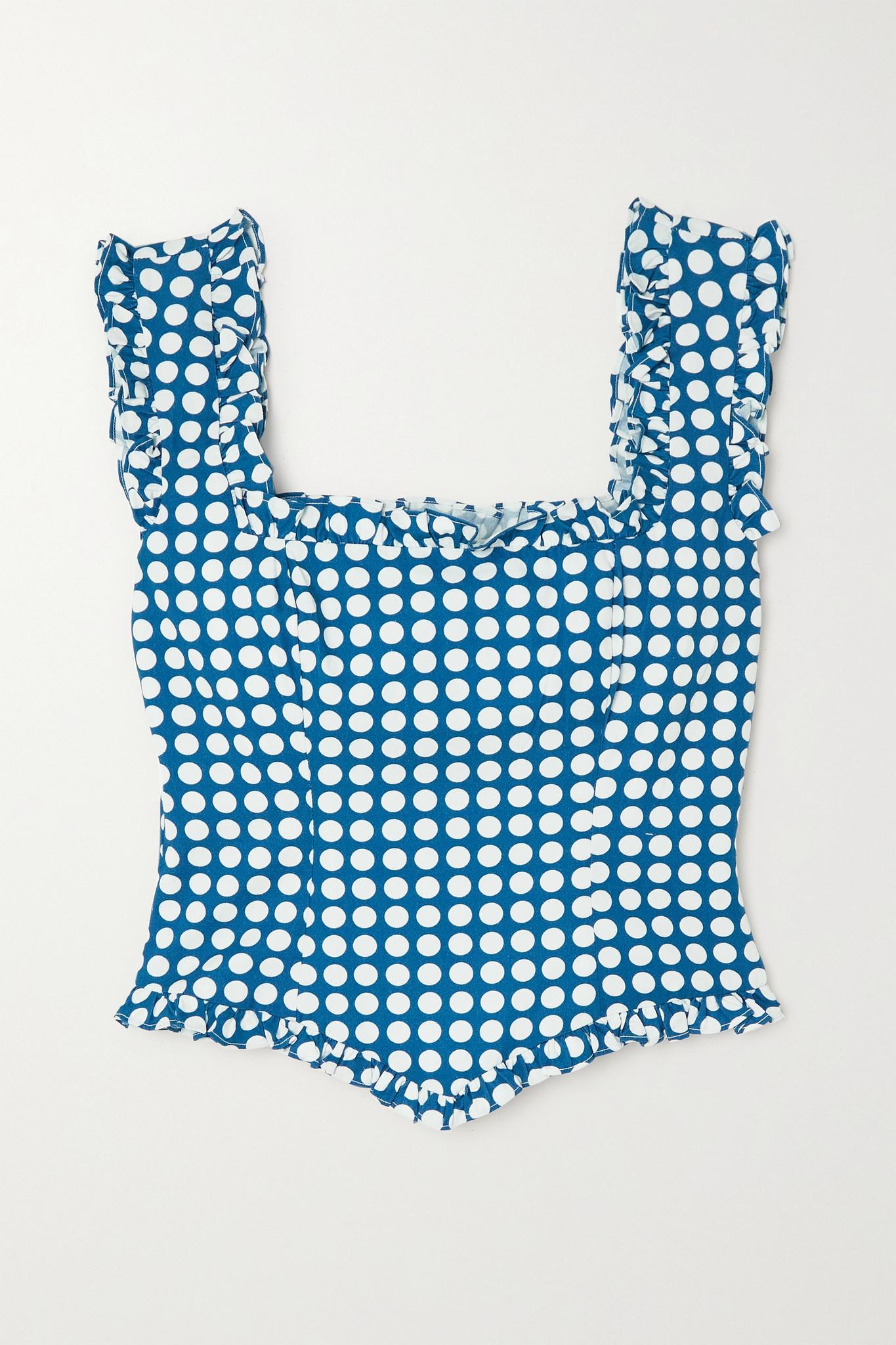DE LA VALI - Bandana Ruffled Polka-dot Organic Cotton Bustier Top - Blue - UK10