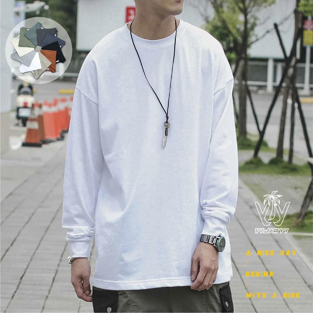 【YIJIAYI】寬鬆落肩素面螺紋袖口長袖T恤(0936)