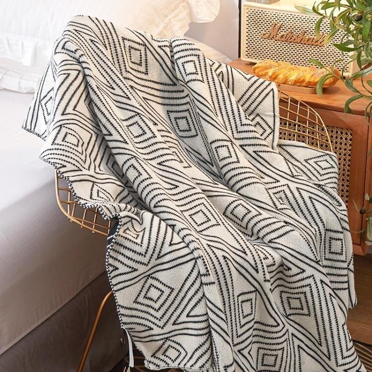 北歐ins風灰色針織休閒小毛毯子空調被子夏季午睡沙發毯單人蓋毯