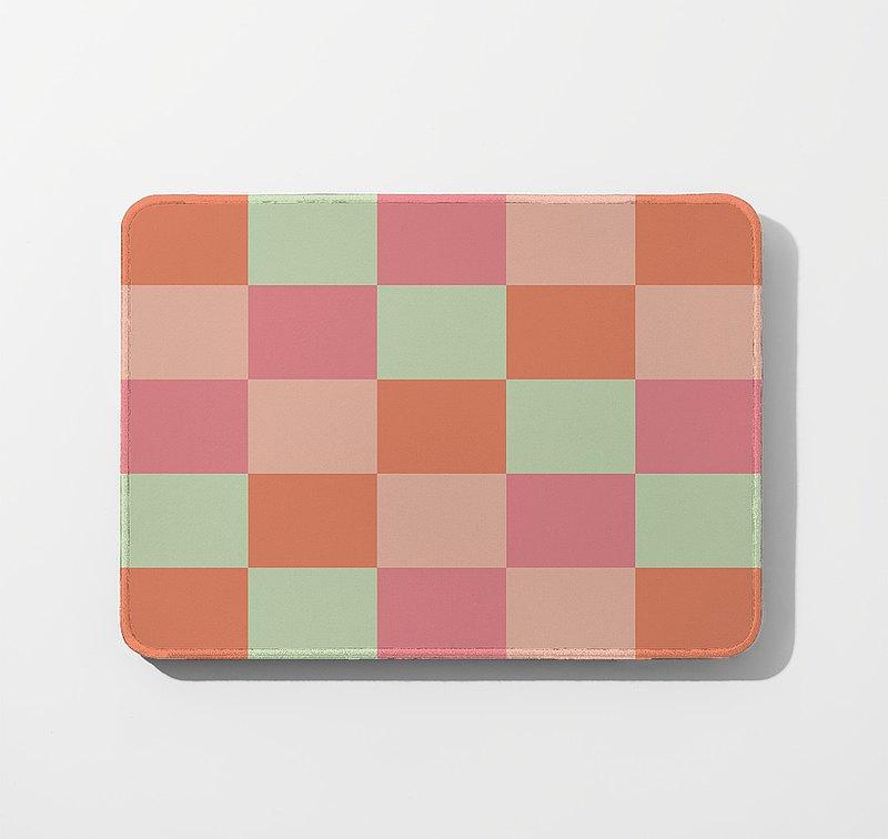 【滑鼠墊-紋理材質-格紋、粉橘】居家辦公/療癒小物/客製化禮物