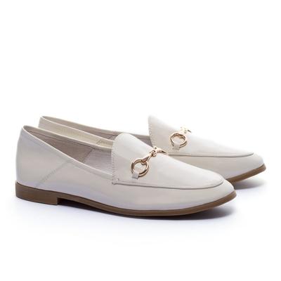 低跟鞋 AS 復刻經典時尚馬銜釦漆皮樂福低跟鞋-白