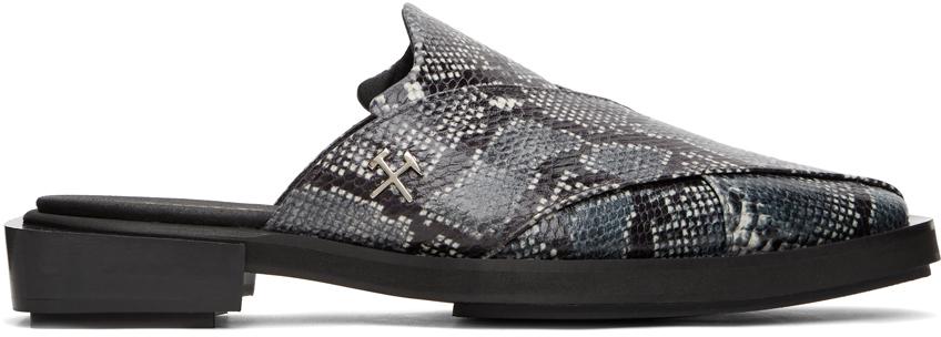 GmbH 灰色 & 黑色 Chappal 蛇纹穆勒鞋