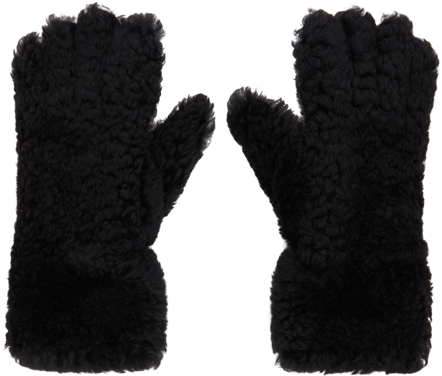 Bottega Veneta 黑色剪羊毛手套